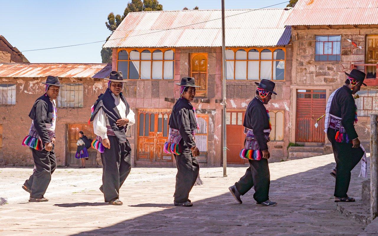 Communauté du village de Taquile au lac Titicaca, Pérou