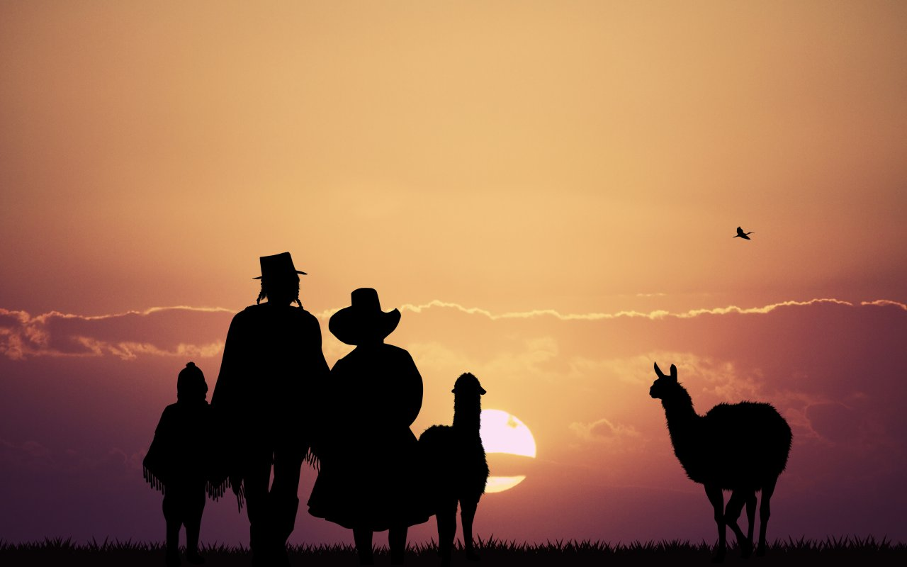 Famille peruvienne pendant le coucher du soleil