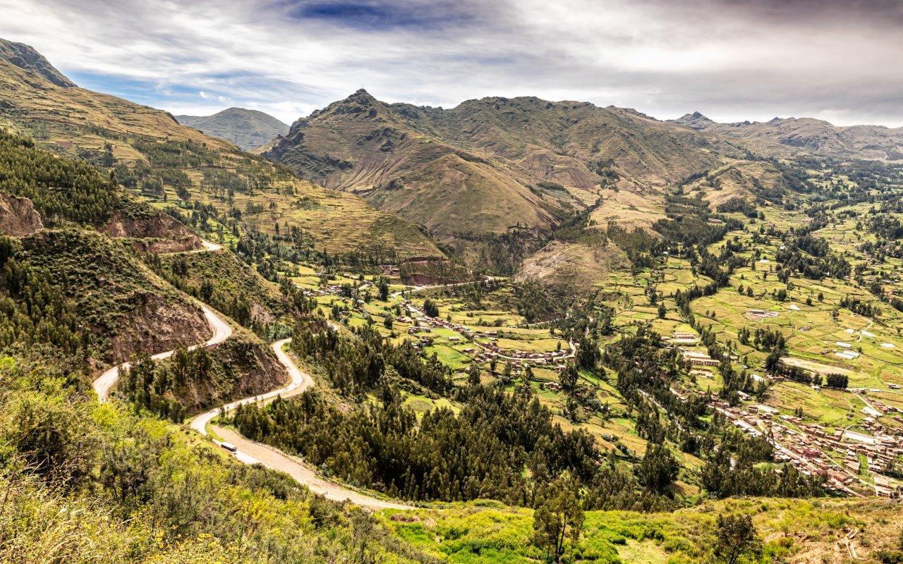 Vue aérienne de la Vallée Sacrée des Incas