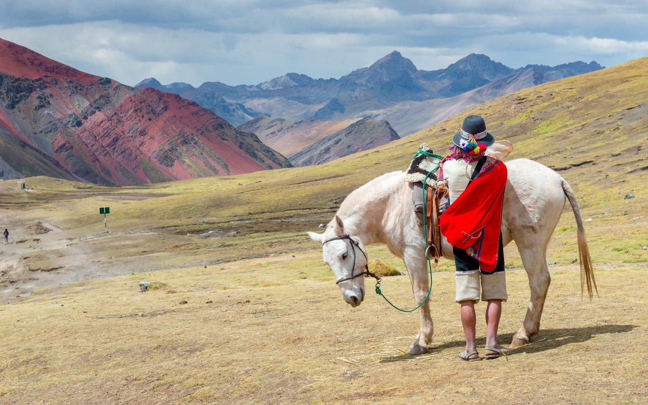 Cheval et son cavalier dans les Andes
