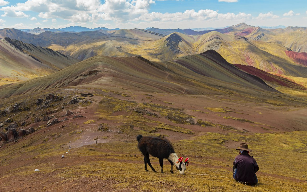 Stunning view at Palccoyo rainbow mountain (Vinicunca alternative), mineral colorful stripes in Andean valley, Cusco, Peru, South America