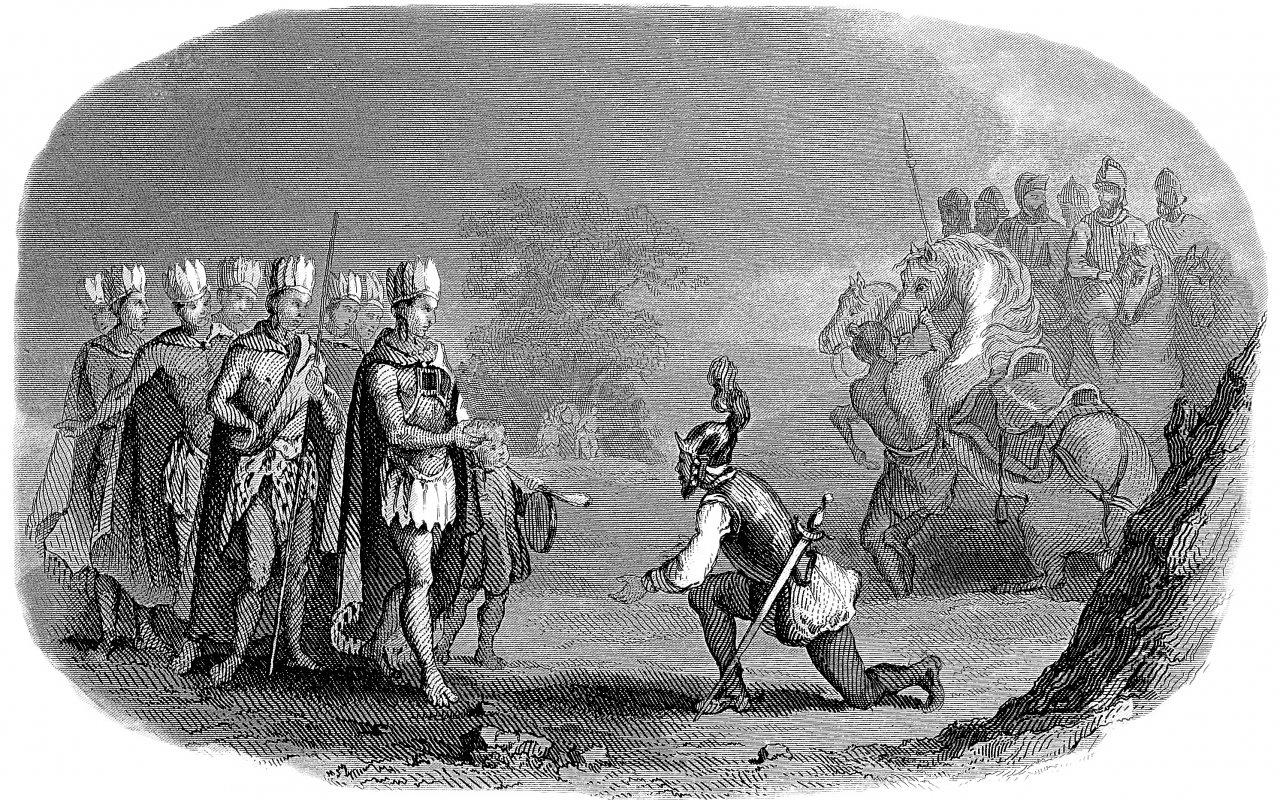 Rencontre entre les conquistadors et les Incas