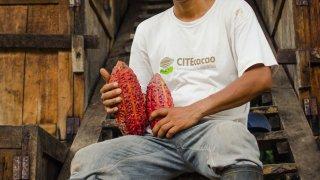 Homme avec cabosse de cacao